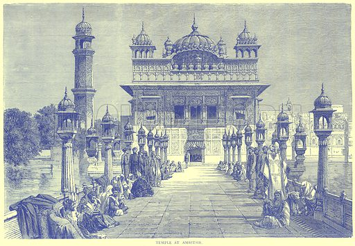Temple at Amritsir. Illustration from Illustrated Travels edited by H W Bates (Cassell, c 1880).