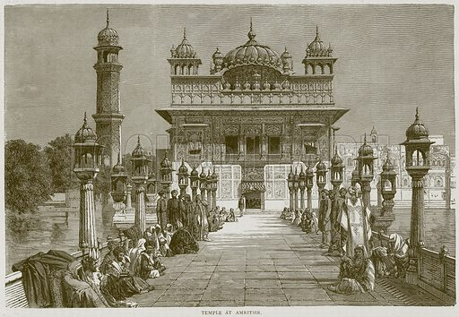 Temple at Amritsir. Illustration from Illustrated Travels edited by HW Bates (Cassell, c 1880).