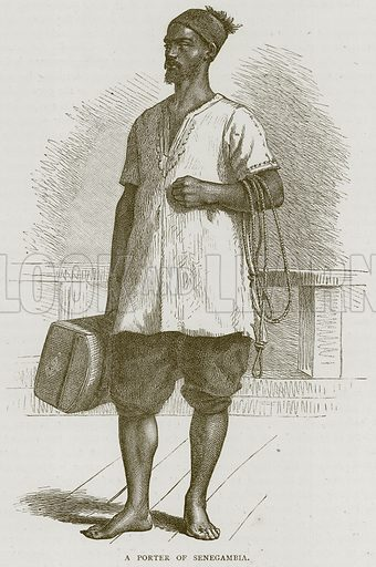 A Porter of Senegambia. Illustration from Illustrated Travels edited by HW Bates (Cassell, c 1880).