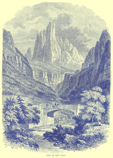 View in the Tyrol. Illustration from Illustrated Travels edited by H W Bates (Cassell, c 1880).