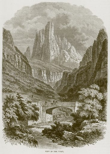 View in the Tyrol. Illustration from Illustrated Travels edited by HW Bates (Cassell, c 1880).