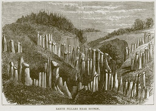 Earth Pillars near Botzen. Illustration from Illustrated Travels edited by H W Bates (Cassell, c 1880).