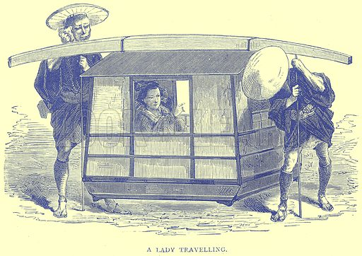 A Lady Travelling. Illustration from Illustrated Travels edited by H W Bates (Cassell, c 1880).
