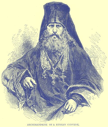 Archimandrite of a Russian Convent. Illustration from Illustrated Travels edited by H W Bates (Cassell, c 1880).