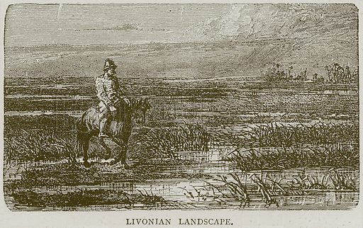 Livonian Landscape. Illustration from Illustrated Travels edited by H W Bates (Cassell, c 1880).