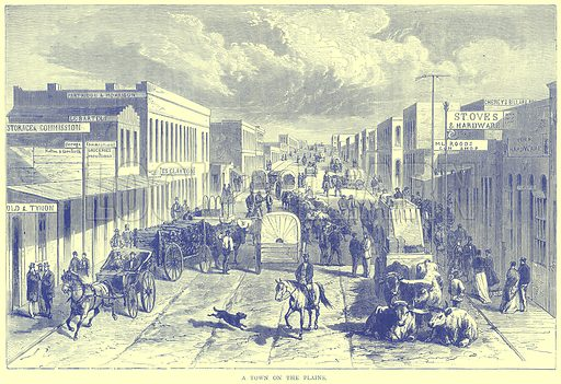A Town on the Plains. Illustration from Illustrated Travels edited by H W Bates (Cassell, c 1880).