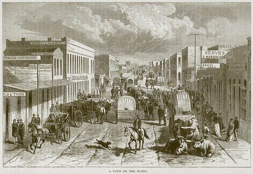 A Town on the Plains. Illustration from Illustrated Travels edited by HW Bates (Cassell, c 1880).