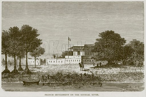 French Settlement on the Senegal River. Illustration from Illustrated Travels edited by H W Bates (Cassell, c 1880).