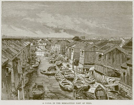 A Canal in the Mercantile Part of Yedo. Illustration from Illustrated Travels edited by H W Bates (Cassell, c 1880).