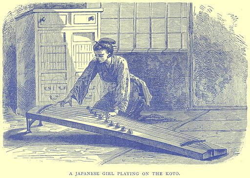 A Japanese Girl Playing on the Koto. Illustration from Illustrated Travels edited by H W Bates (Cassell, c 1880).