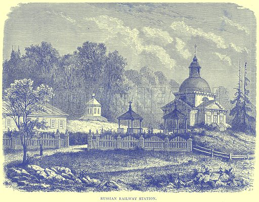 Russian Railway Station. Illustration from Illustrated Travels edited by H W Bates (Cassell, c 1880).