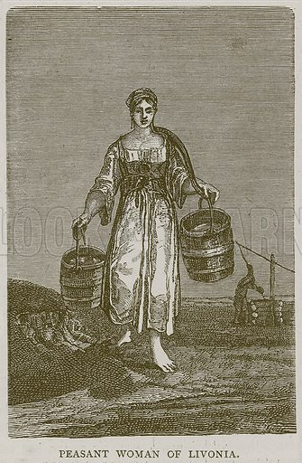 Peasant Woman of Livonia. Illustration from Illustrated Travels edited by H W Bates (Cassell, c 1880).