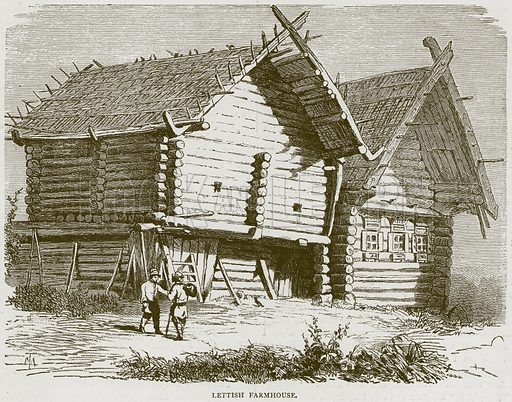 Lettish Farmhouse. Illustration from Illustrated Travels edited by HW Bates (Cassell, c 1880).
