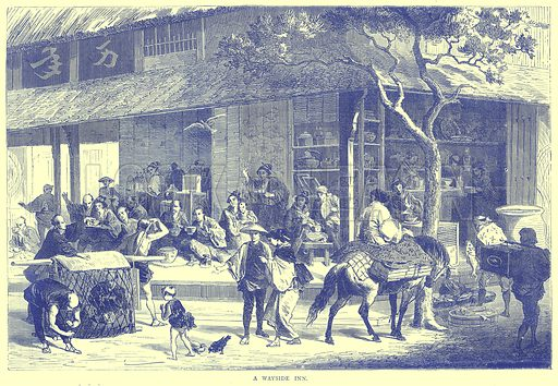 A Wayside Inn. Illustration from Illustrated Travels edited by H W Bates (Cassell, c 1880).