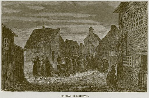 Funeral in Reikiavik. Illustration from Illustrated Travels edited by H W Bates (Cassell, c 1880).