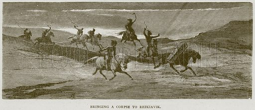 Bringing a Corpse to Reikiavik. Illustration from Illustrated Travels edited by HW Bates (Cassell, c 1880).