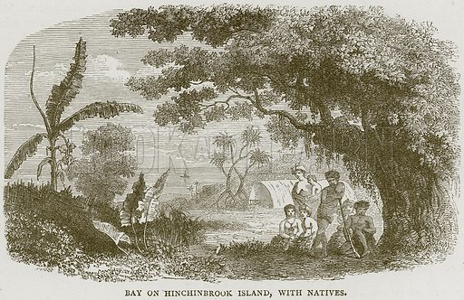 Bay on Hinchinbrook Island, with Natives. Illustration from Illustrated Travels edited by H W Bates (Cassell, c 1880).
