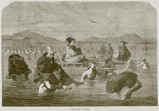 Crossing a River. Illustration from Illustrated Travels edited by HW Bates (Cassell, c 1880).
