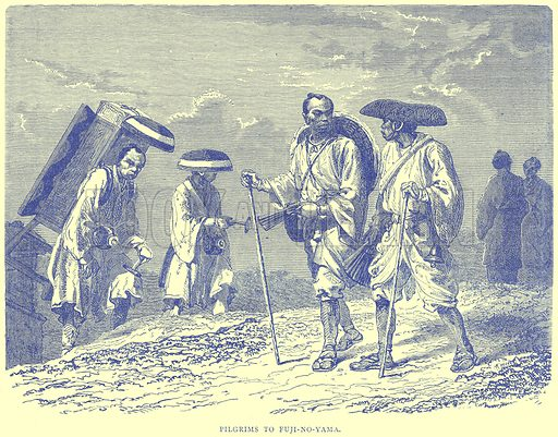 Pilgrims to Fuji-no-Yama. Illustration from Illustrated Travels edited by H W Bates (Cassell, c 1880).