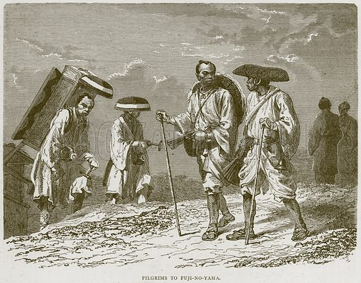 Pilgrims to Fuji-no-Yama. Illustration from Illustrated Travels edited by HW Bates (Cassell, c 1880).