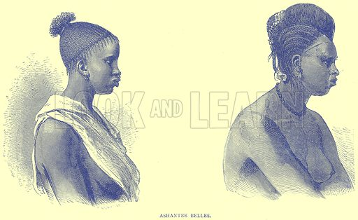 Ashantee Belles. Illustration from Illustrated Travels edited by H W Bates (Cassell, c 1880).