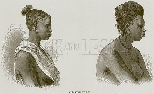 Ashantee Belles. Illustration from Illustrated Travels edited by HW Bates (Cassell, c 1880).