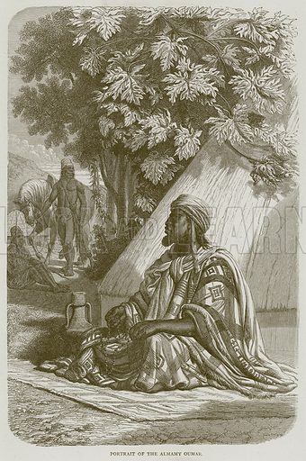Portrait of the Almamy Oumar. Illustration from Illustrated Travels edited by HW Bates (Cassell, c 1880).