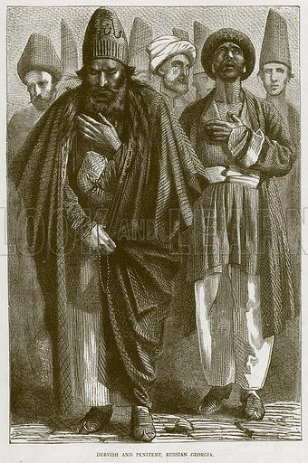 Dervish and Penitent, Russian Georgia. Illustration from Illustrated Travels edited by HW Bates (Cassell, c 1880).
