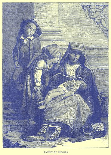Family of Beggars. Illustration from Illustrated Travels edited by H W Bates (Cassell, c 1880).