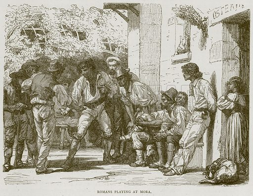 Romans Playing at Mora. Illustration from Illustrated Travels edited by H W Bates (Cassell, c 1880).