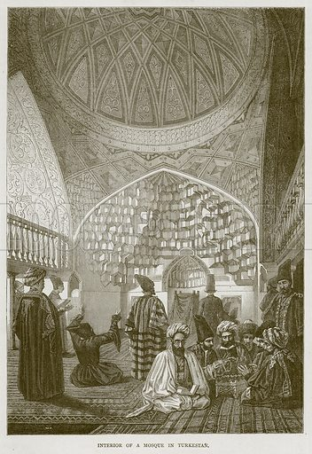 Interior of a Mosque in Turkestan. Illustration from Illustrated Travels edited by H W Bates (Cassell, c 1880).