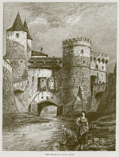 The Germans' Gate, Metz. Illustration from Illustrated Travels edited by HW Bates (Cassell, c 1880).