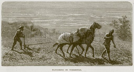 Ploughing in Turkestan. Illustration from Illustrated Travels edited by H W Bates (Cassell, c 1880).