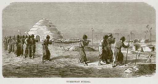 Turkoman Burial. Illustration from Illustrated Travels edited by HW Bates (Cassell, c 1880).