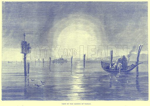 View in the Lagoon of Venice. Illustration from Illustrated Travels edited by H W Bates (Cassell, c 1880).
