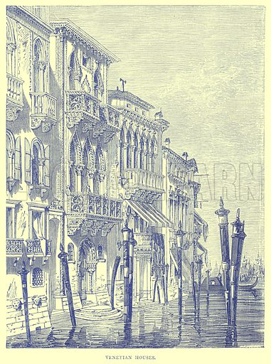 Venetian Houses. Illustration from Illustrated Travels edited by H W Bates (Cassell, c 1880).