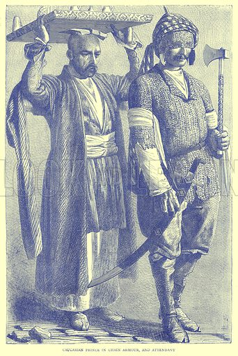 Caucasian Prince in Chain Armour, and Attendant. Illustration from Illustrated Travels edited by H W Bates (Cassell, c 1880).