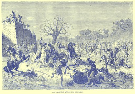 The Bambaras Attack the Besiegers. Illustration from Illustrated Travels edited by H W Bates (Cassell, c 1880).
