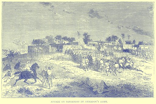 Attack on Sansandig by Ahmadou's Army. Illustration from Illustrated Travels edited by H W Bates (Cassell, c 1880).