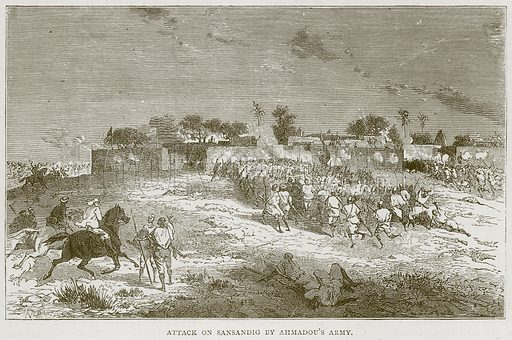 Attack on Sansandig by Ahmadou's Army. Illustration from Illustrated Travels edited by HW Bates (Cassell, c 1880).