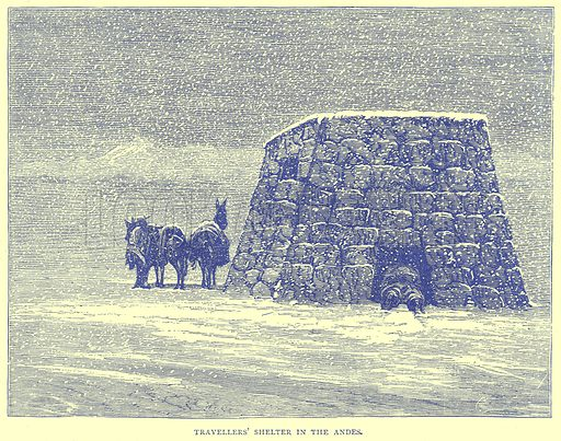 Travellers' Shelter in the Andes. Illustration from Illustrated Travels edited by H W Bates (Cassell, c 1880).