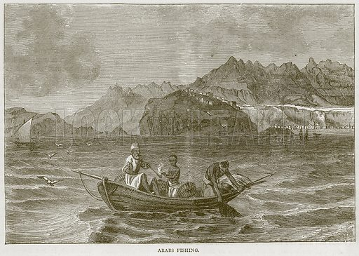 Arabs Fishing. Illustration from Illustrated Travels edited by H W Bates (Cassell, c 1880).