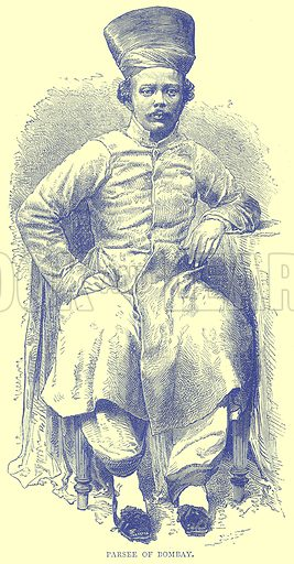 Parsee of Bombay. Illustration from Illustrated Travels edited by H W Bates (Cassell, c 1880).