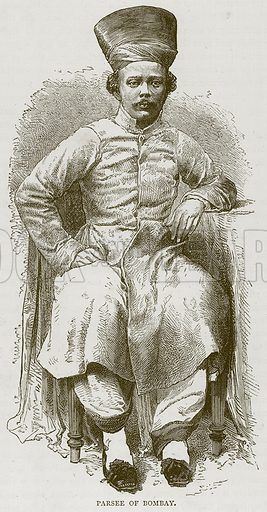 Parsee of Bombay. Illustration from Illustrated Travels edited by HW Bates (Cassell, c 1880).