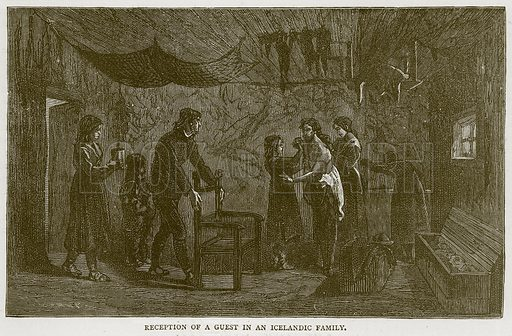 Reception of a Guest in an Icelandic Family. Illustration from Illustrated Travels edited by H W Bates (Cassell, c 1880).
