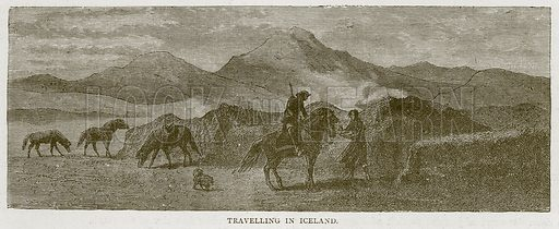 Travelling in Iceland. Illustration from Illustrated Travels edited by H W Bates (Cassell, c 1880).
