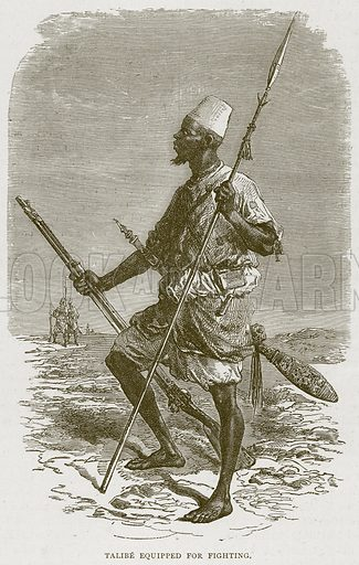 Talibe Equipped for Fighting. Illustration from Illustrated Travels edited by H W Bates (Cassell, c 1880).