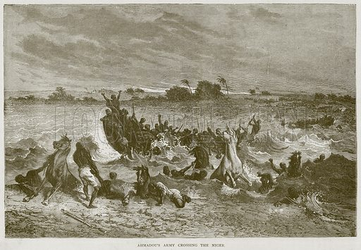 Ahmadou's Army crossing the Niger. Illustration from Illustrated Travels edited by HW Bates (Cassell, c 1880).