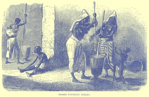 Women Pounding Millet. Illustration from Illustrated Travels edited by H W Bates (Cassell, c 1880).