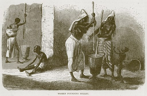 Women Pounding Millet. Illustration from Illustrated Travels edited by HW Bates (Cassell, c 1880).